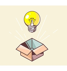 opened box and yellow lightbulb on color vector image