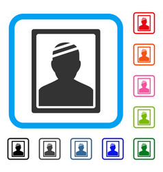 Patient photo framed icon vector