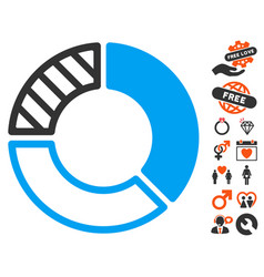 pie chart icon with love bonus vector image vector image