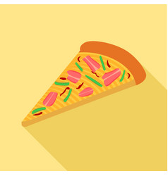 pizza with peppers and bacon icon flat style vector image