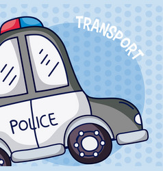 Police car over colorful background vector