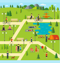 public park camping in the park vector image