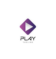 purple play button logo icon design template vector image