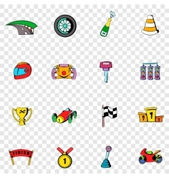 Race set icons vector