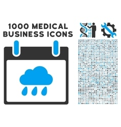 Rain cloud calendar day icon with 1000 medical vector