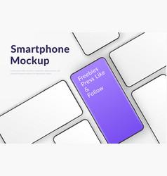 realistic smartphones mockup 3d mobile phones vector image