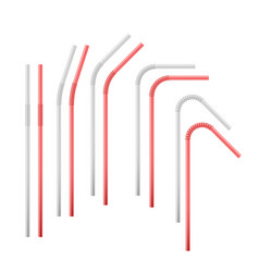 red and white flexible cocktail straw isolated on vector image