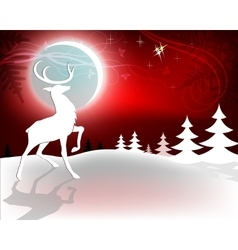 Red Christmas background with deer vector