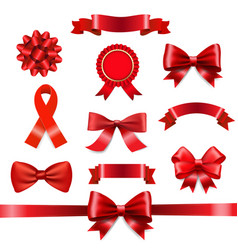 red ribbon bow set vector image