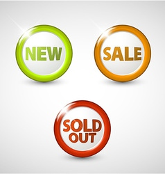 round 3D icons for sale new and sold out items vector image