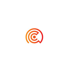 round circle line logo vector image