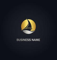 sailing boat yacht gold logo vector image