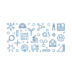Science technology engineering and math outline vector