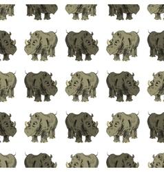 Seamless African Rhinoceros Animal Pattern vector image