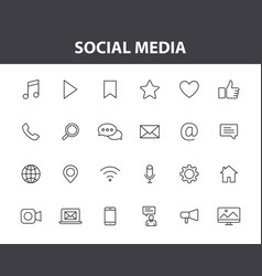 set 24 social media web icons in line style vector image