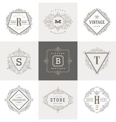 Set monogram flourishes logo vector