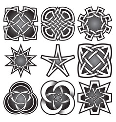 Set of logo templates in celtic knots style vector