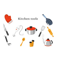 set of realistic images of kitchen tools vector image