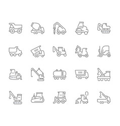 Set simple icons heavy equipment vector