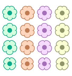 Simple colored flower icon symbol logo set vector