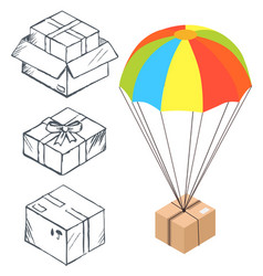 Sketch box with parachute for delivery vector