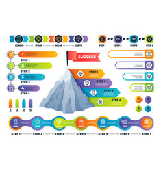 step infographics pyramid graph with process vector image