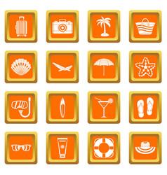 summer rest icons set orange vector image