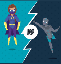 superheros versus match cartoon vector image