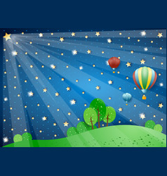Surreal night with lights and hot air balloons vector