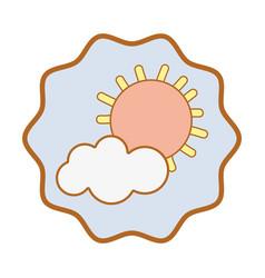 Symbol sun and cloud cartoon character vector