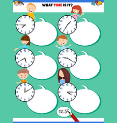 Telling time educational task with children vector