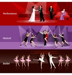 Theater People Horizontal Banners Set vector