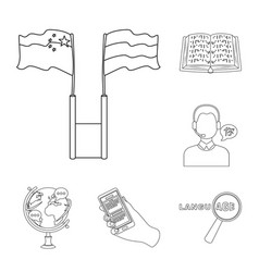 Translator and linguist outline icons in set vector