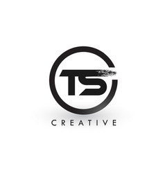 ts brush letter logo design creative brushed vector image