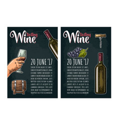 Vertical poster wine tasting lettering bottle vector