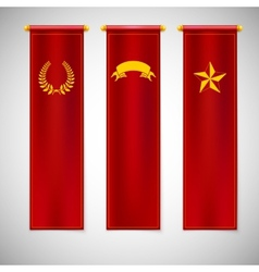 Vertical red flags with emblems vector image