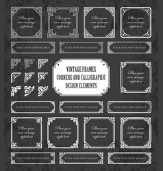 vintage frames and corners on chalkboard vector image