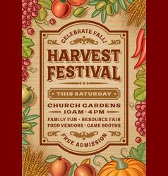 Vintage harvest festival poster vector