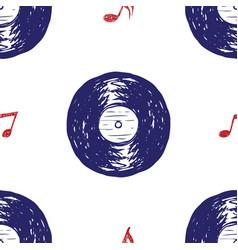 Vinyl record vintage seamless pattern hand drawn vector