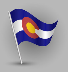 Waving triangle american state flag colorado vector