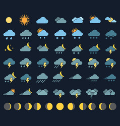 weather icons and signs vector image