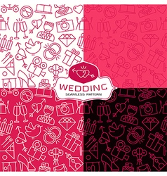 Wedding seamless patterns in thin line style vector