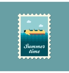 Yellow banana boat ride stamp Summer Vacation vector