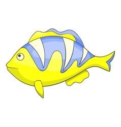 Yellow tropical stripped fish icon cartoon style vector image
