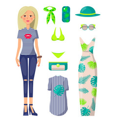 Young blonde girl with stylish summer clothes set vector