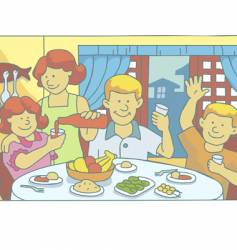 family at mealtime vector image
