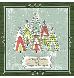 grunge background with forest of christmas trees vector image vector image