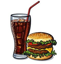 hamburger and cola vector image vector image