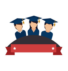 colorful emblem with ribbon and students graduates vector image vector image