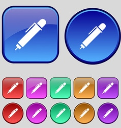 pen icon sign A set of twelve vintage buttons for vector image